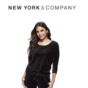 EUC New York & Company Black Velour Long Sleeve